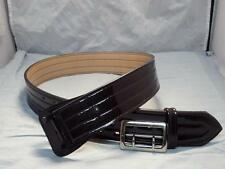"B101 Gloss Brown  Size 36"" HUME Police Duty Style Gun Belt 2.25"" Chrome Buckle"
