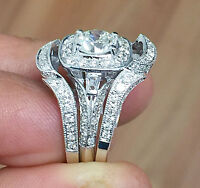 14k White Gold Round Cut Diamond Engagement Ring And Bands Halo Bridal 2.50ctw