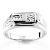 14K Solid White Gold Ring 0.45 Ct genuine Diamond Engagement Mens Band Size 7