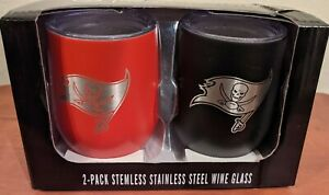 Tampa Bay Buccaneers NFL Stainless Steel 2 Pack Stemless Wine Tumbler Glass