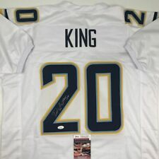 Autographed/Signed DESMOND KING Los Angeles LA White Football Jersey JSA COA
