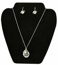 Bless Your Heart Necklace Earring Set Silver