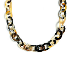 Earth Tone Brown Handmade Buffalo Horn Long Oval Link Chain Necklace 40 Inches