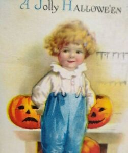 Vintage Halloween Postcard Ellen Clapsaddle Wolf Child Pumpkins 1920 New York NY