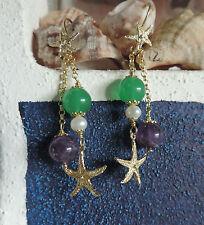 """Orecchini """"stelle marine"""" in argento 925, agata verde e lilla"""