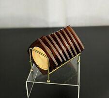 Retro Plastic Brown Amber Square Coasters Set Wire Caddy USA Mid Century Modern