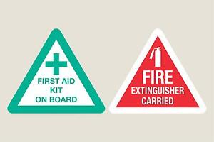 Fire Extinguisher & First Aid on board stickers decals Taxi Coach Free 1st P&P