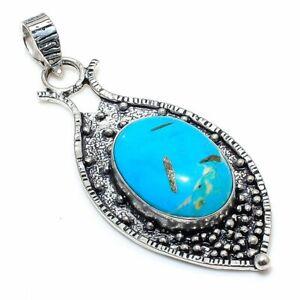 "Tibetan Turquoise Gemstone 925 Sterling Silver Jewelry Pendant 2.76"" l954"