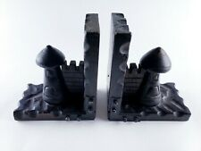 New ListingVintage Wooden Book Ends with Castle Wall & Tower