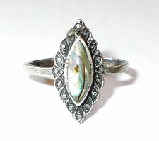 Antique Estate MOTHER of PEARL ABALONE Filigree 925 Sterling Silver Ring Sz 7