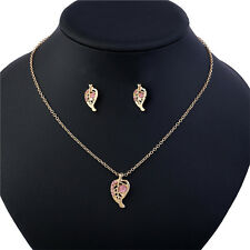 Simple Leaves Pink Crystal Necklace and Earrings Rose Gold Chain Pendant