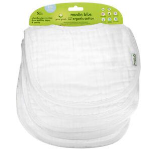 Muslin Bibs, 0-12 Months, White, 5 Pack