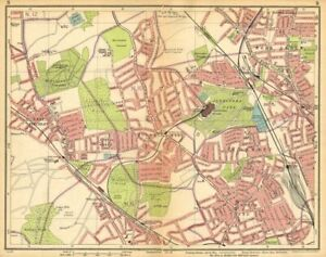 LONDON N. Muswell Hill Alexandra Park Wood Green Finchley Crouch End 1925 map