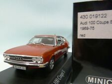 WOW EXTREMELY RARE Audi 100 C1 1.9L I4 Coupe S 1969 Ib Red 1:43 Minichamps-50/80