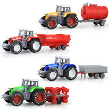 4Pcs Set Alloy Car Farmer Tractor Tank Trailer Models Diecast Kids Toy Car Gifts