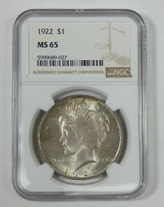1922 Silver Peace Dollar CERTIFIED NGC MS 65