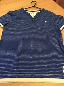 boys clothes 11-12 years F&F Blue Cotton Fine White Striped Short Sleeved Top