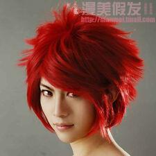 Galaxy Beautiful Boy Dunkel-Rot Haar Fake-Anti-Alice Cosplay Perücke
