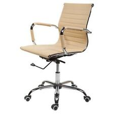 Bürostuhl Elegance Beige niedrige Rückenlehne Chrom Chefsessel Drehstuhl bequem