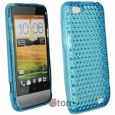 Cover for HTC ONE V Blue Diamond Silicone Gel + Display Film