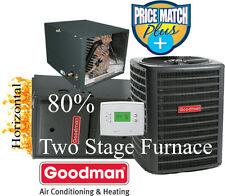 2.5 Ton Goodman 14 seer 80% 60K btu TWO STAGE HORIZONTAL Gas Furnace System+tst