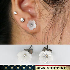 Fashion Women's Earrings White Shell flower Stainless Steel For Women