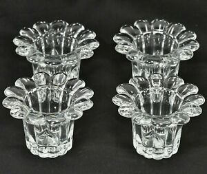 LUIGI BORMIOLI Glass Candle Votive Holders - Italy - Flower Petal - Set Of 4