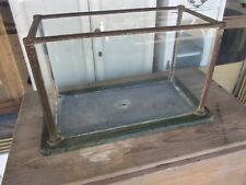 Antique Art Deco Glass & Cast Iron Water Tank / Vintage Cast Iron Fish Tank