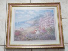 "Large Home Interior Picture, Kids At The Beach, Pink & Gold Frame. 27.5"" X 23.5"""