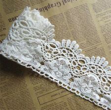 2 yd 90mm Wide Vintage off White Cotton Crochet Lace Edge Trim Ribbon Dress DIY