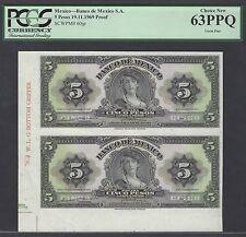 Mexico 5 Pesos 1969 P60jp Uncut sheet Proof Uncirculated