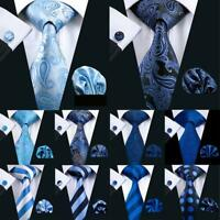 Blue Men's Ties Set Silk Hanky Cufflinks Necktie Striped Paisley Solid Wedding