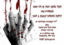 10 Personalised Scary Bloody Halloween Party Invitations 300gsm