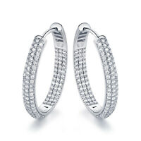 Sevil 18K White Gold Plated Swarovski Elements Round Hoop Earrings