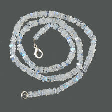 925 Sterling Silver 14 gms Natural Rainbow Moonstone Jewelry Nacklace L-16""