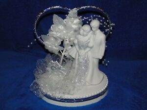 New Elegant 25th Wedding Anniversary Couple Cake topper figurine white couple