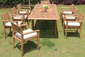 """DSMT Grade-A Teak 9pc Dining 94"""" Rectangle Table 8 Stacking Arm Chair Set New"""