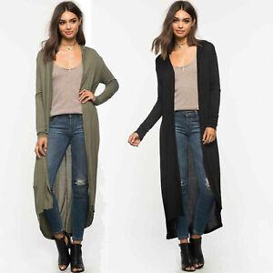 New Womens Ladies Long Sleeved Maxi Long Full length Cardigan Top 8-14 UK