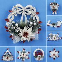 White Christmas Home Door Window Wreath Decoration Xmas Tree Hanging Ornaments