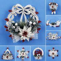 White Christmas Home Door Window Wreath Decoration Xmas Tree Hanging Ornaments
