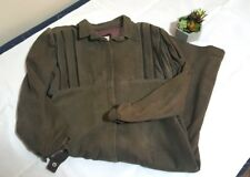 80's Suede Leather Dress with Shoulder Pads George Kiss by Maryse Roye Khaki