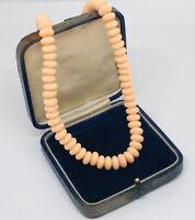 Vintage Necklace Peach Coloured Plastic Beads Collar Length Retro Kitsch Pretty