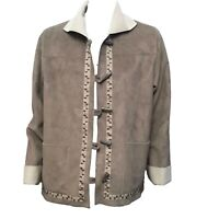 Alfred Dunner Womens Brown Beige Button-Down Causal Jacket Sz 8