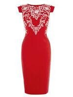 KAREN MILLEN RED Cap Sleeve Embroidered Shift Dress RRP £215  - 6 8 10 12 14 16