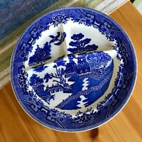 """10"""" Vintage Antique Blue Willow 3 Section heavy Diner Plate Ideal Grille"""