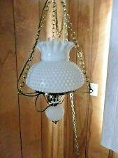 Vintage White Glass Hurricane Hanging Ceiling Lamp Light Working Great Condition