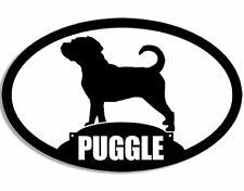 3x5 inch Oval Puggle Silhouette Sticker (Dog Pug Beagle Mix Breed)