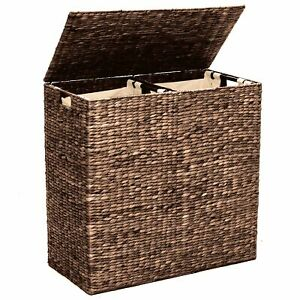 Double Laundry Hamper Woven Water Hyacinth With Two Cotton Canvas Bags Multi New
