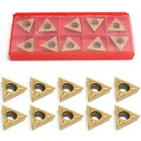 10Pcs TCMT 16T304 Gold Triangular Tungsten Steel Carbide Inserts Turning Tools