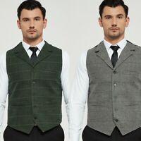 Men's Plaid Retro Vests Wool Herringbone Tweed Waistcoat Suit Lapel Groomsman+